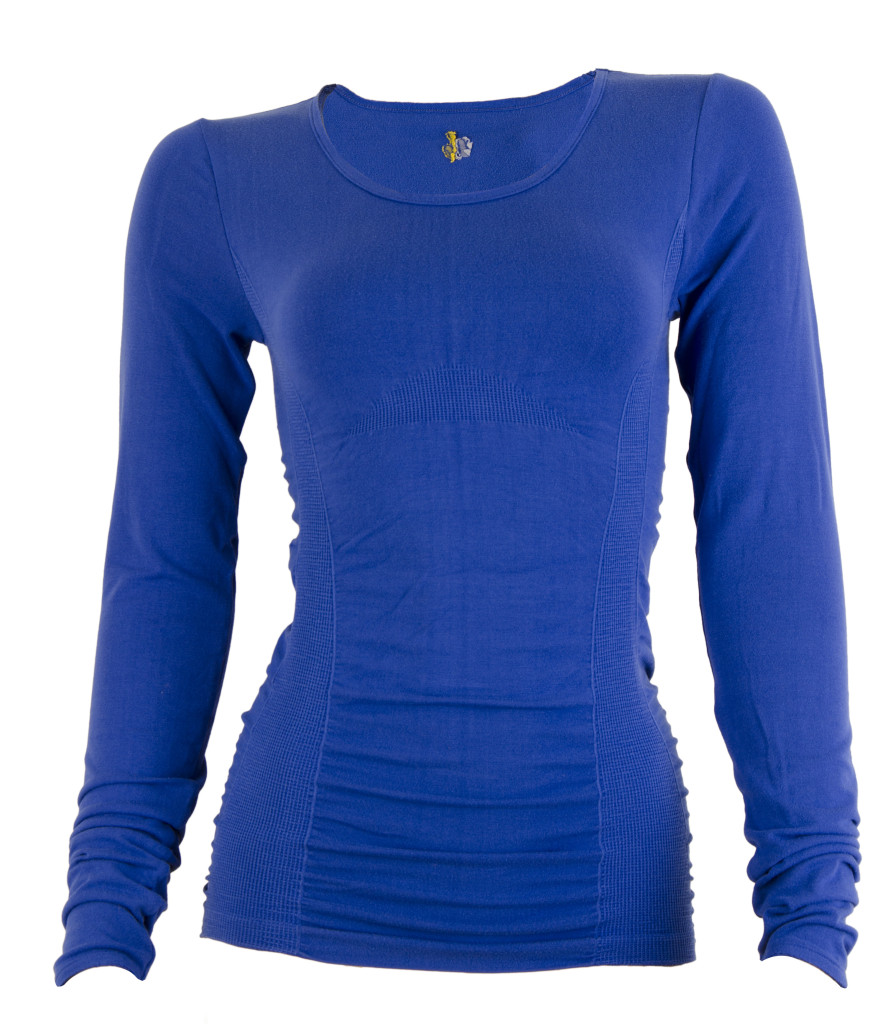 NoBalls-Bamboo Gathered Long Sleeve Top - Dazzle Blue-nb34e0458