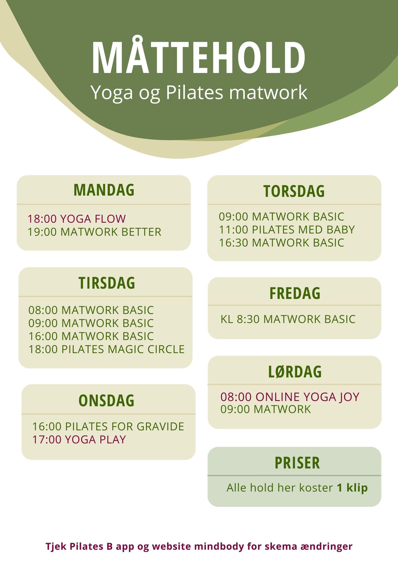 Pilates Måttehold & yogahold holdtræning lyngby Pilates B
